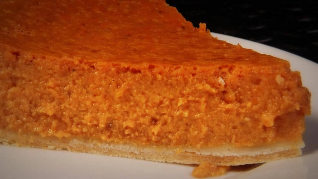 Delicious pumpkin pie - made from standard Halloween pumpkins.